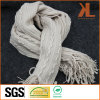 100% Acrylic Fashion Beige Striped & Buddled Warp Knitted Scarf with Fringe