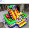 Fun City Theme Kids Inflatable Circus Elephant Clown Inflatable Bouncer Slide with Climbing Wall