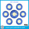 Blue and Beige Round Bulk Dinner Plates Set