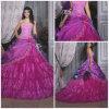 2012 A Strapless sexy magnífico - a linha revestimento da bainha Appliqued os vestidos de Quinceanera do tafetá do plissado da flor (QD-032)