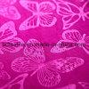 Tela grabada acabada melocotón clásico del terciopelo del modelo de mariposa