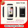 Téléphone mobile superbe chaud de la bande TV de quadruple de TV N8 mini, appareil-photo duel avec la lampe-torche