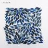 Mosaico blu di vetro macchiato di arte di figura di foglio