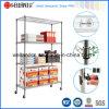 Mobile 4 niveles de metal resistente ajustable Comerciales Estanterías de alambre