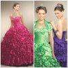 2012 querido magnífico novo A - a linha plissado do revestimento da bainha perlou os vestidos de Quinceanera do tafetá (QD-014)