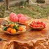 최신 판매 과일 격판덮개 Three-Piece 나무 자두 모양 과일 격판덮개