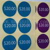 Prix à payer polychrome, étiquettes avec toute taille