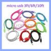 10 ЦВЕТОВ V8 Strong ткань экранирующая оплетка Micro-USB кабель зарядного устройства для синхронизации данных 3м/6 футов/10ft для телефонов Android