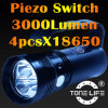 Tonelife Tl4008 LED Underwater Flashlight 3000lumen Piezo Switch Diving Torch Light