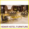 Royal Gold Wood Living Room Furniture Sofa Set para o lobby do hotel