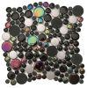 Rotondo nero tempera del vetro con acciaio inossidabile Crystal Mosaic (CFC254)