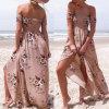 Таким образом женщины шифон напечатано завернутые груди Strapless Split пляжа Платья