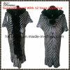 Nuevo Arrive Women Fashion Fur Neck Long Sleeve Cardigan Knitted Sweater con Stripe y Zip (090#)
