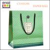 Bolso de papel de lujo del regalo para las compras y promocional verdes