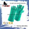 Зеленая перчатка работы руки заварки техники безопасности на производстве Split кожи Cowhide