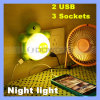 Small LED Night Light를 가진 Turtles 다기능 USB Charger