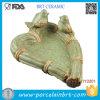 Поднос ювелирных изделий декора симпатичного ротанга зеленой травы птицы керамический