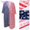 Beachwear do encobrimento do quimono da cópia da bandeira americana para as mulheres L384950