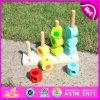 2015 цветасто выучьте игрушку блока номера, деревянные подсчитывая штабелируя блоки игрушку, здание малышей образования большое штабелируя игрушку W13D076 блоков