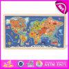 2015 crianças educação Super-Quality Mapa Puzzle Saiba parte do mapa mundo 3D Puzzle madeira madeira barato Montar Puzzle Toy W14C138