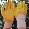 黄色いニトリルによっては十分に手袋を労働する保護安全作業手袋が浸した