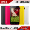 Mtk6582 Quad Core Processor 4.5  Fwvga IPS 854X480 Pixels Android 4.2 OS 8MP WCDMA 3G GPS Phones 1GB/4GB