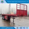 Semi Aanhangwagen met hoge weerstand van de Vrachtwagen van het Staal Flatbed met het Geruite Platform van 3mm