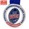 Heißer Verkaufs-preiswerter Abnehmer-Entwurfs-Stempel-empfindliche kundenspezifische runde Überzug-Silber-Sport-Andenken-Medaille mit Farbband