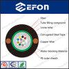 4 câble optique blindé extérieur de fibre d'Unitube de câblage cuivre de 12 noyaux (GYXTW&copper)