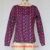 긴 Sleeve Fashion Print Tunic, Ladies를 위한 Woven Blouse