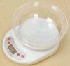 Báscula de cocina electrónica con recipiente transparente