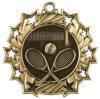 De gouden Gegoten Medaille van het Tennis van Tien Ster Matrijs met het Rode, Witte & Blauwe Lint van de Hals - de Diameter van 2.25 Duim