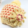 2-Tone Knitted Winter Cap W/Flower&Beads