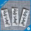Organische Sahnefarben-Gewebe-Baumwoll-Kleidungs-Kennsätze für Jeans