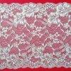 Textile élastique de tissu de lacet de maille florale blanche ene ivoire