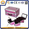 Modischer Arbeitsweg-Fall-Rosa-Diamant-Schönheits-Fall mit Tellersegmenten und Spiegel (HB-3168)