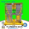 O elevador dobro da plataforma da tabela de levantamento da liga de alumínio de elevador hidráulico do mastro Gtwy4 6/8/10/12-200s
