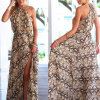 Платье пробки женщин способа сексуальное шифоновое напечатанное Split длиннее