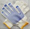 Поставленная точки PVC перчатка хлопка природы белая