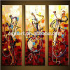 Knife Canvas Oil Painting Model Knife Painting를 가진 추상적인 Painting 3pieces Panels Paintings Musical Instruments Guitars Painted Pictures