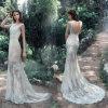袖なしのV-Backの花嫁の服の人魚のレースの婚礼衣裳Lb1812