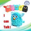 教育対話型のおもちゃのPhoebe電気ペットフクロウのエルフのプラシ天記録話す子供のおもちゃ