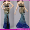 O New Strapless 2014 Evening Dress com Tail Sequins Tall Waist Party /Cocktail Dress