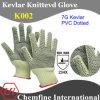 7g кевлар трикотажные перчатки с 2-х сторон ПВХ с точкой / EN388: 234X