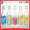 La bottiglia di acqua di vetro decorativa libera all'ingrosso con la parte superiore ferma 1000ml con una graffetta
