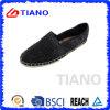 Chaussures femelles fabriquées à la main noires de loisirs d'EVA