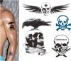 Etiquetas engomadas temporales impermeables del tatuaje del cráneo de moda