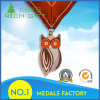 Médaille en métal de forme de hibou de mode d'amende douanière d'approvisionnement