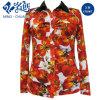 Cómodos flojos coloridos Dan vuelta-Abajo a la blusa suave de las señoras de la manera del collar