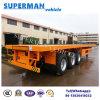 40FT 3 Eje de superficie plana de contenedores semi remolque de contenedores Uso